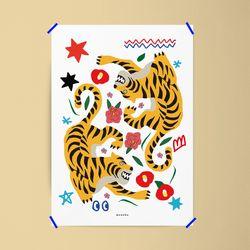 유니크 인테리어 디자인 포스터 M 꽃과 호랑이 A3(중형)
