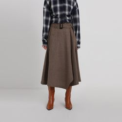 wave wool flare skirt (2colors)