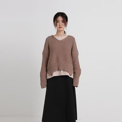 natural v-neck knit (3colors)