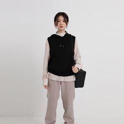 knit hood vest (3colors)
