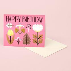 VINTAGE FLOWERS BIRTHDAY CARD