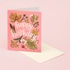 TROPICAL PLANTS BIRTHDAY CARD - CORAL
