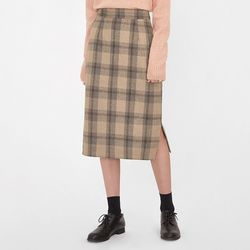 straight slit check midi skirt (s m)