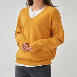 cashmere feeling v-neck wool knit