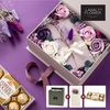 프리저브드 초콜릿 기프트 플라워박스 퍼플+쇼핑백+메세지카드