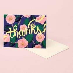 PINK CAMELLIA THANK YOU CARD