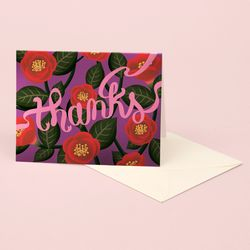 RED CAMELLIA THANK YOU CARD