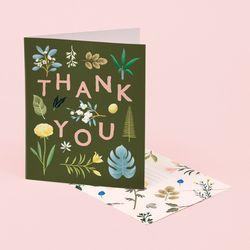 ASSORTED BOTANICAL THANK YOU CARD – KHAKI
