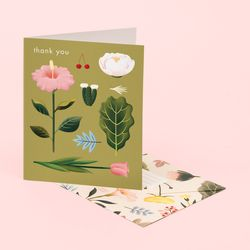 PASTEL BLOSSOMS THANK YOU CARD – OLIVE