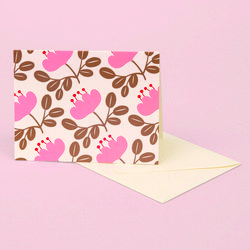 BLOSSOM GOLD GREETING CARD PINK PETAL
