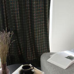 테드 울혼방 체크 커튼-2color