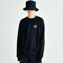 (UNISEX) 베이식스 624 루즈 기모맨투맨 블랙
