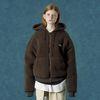 Rubber fleece hoodie zipup-brown