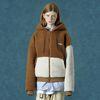 Rubber fleece hoodie zipup-camel