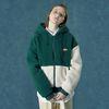 Rubber fleece hoodie zipup-green