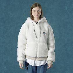 [예약판매 11/15 발송] [앤커버] Rubber fleece hoodie zipup-ivory