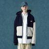 Rubber fleece hoodie zipup-navy