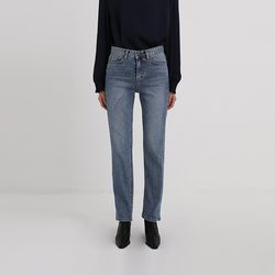 under slit straight denim pants