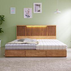 라노체 유럽라텍스 데니스 LED평상형수납형 원목침대 로얄킹