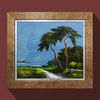 소나무그림액자 유화그림 소나무절경 풍경화 푸른하늘