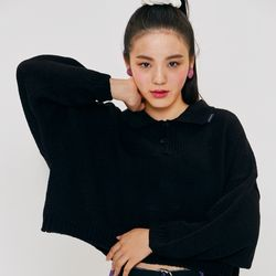 CROP 2BUTTON KNIT Black