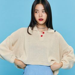 CROP 2BUTTON KNIT Ivory