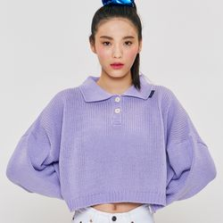 CROP 2BUTTON KNIT Purple