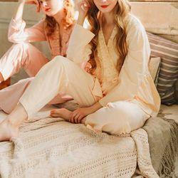 브이 레이스 가운 상하세트 잠옷