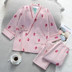 딸기 스트로베리 라인 골지 유카타 투피스 잠옷