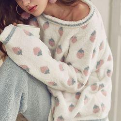 딸기 피케 뽀송면 극세사 상하세트 잠옷  티셔츠