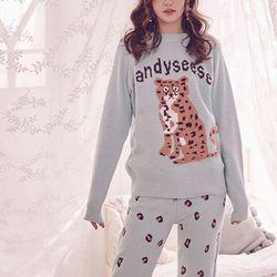 호피 레오파드 피케 뽀송면 극세사 상하세트 잠옷  티셔츠