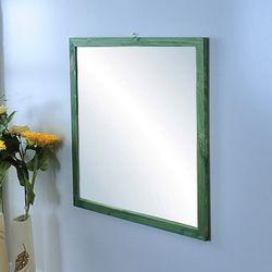 원목거울 정사각 레드파인 그린색상 655x655
