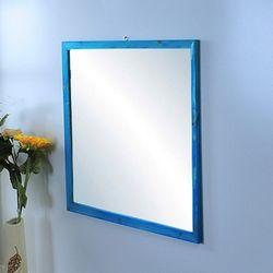 원목거울 정사각 레드파인 블루색상 655x655