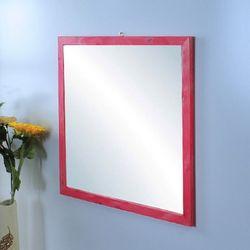 원목거울 정사각 레드파인 핑크색상 655x655