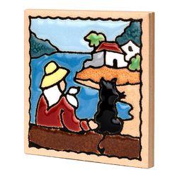 스페니쉬 타일 냉장고 자석 스페인 마그넷 - 여인과 고양이
