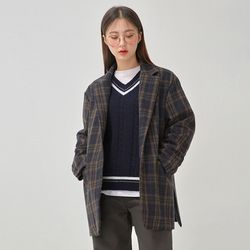 slit belted check jacket