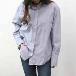 해커스 루즈핏 스트라이프 줄무늬 커프스 셔츠 남방
