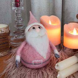 울 소재 핑크 산타인형