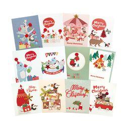 FS514 set(12종) 크리스마스카드 트리 산타 성탄절 미니카드