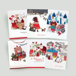 FS1029 set(6종) 크리스마스카드 트리 산타 성탄절 루돌프