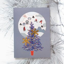 FS1030-4 크리스마스카드 트리 산타 성탄절 루돌프