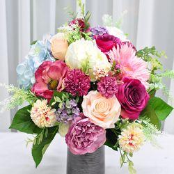 버건디팜팜 산소 성묘 꽃 다발 조화 실크플라워