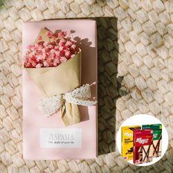 11월의고백 미니꽃다발(핑크 안개)&막대과자-11.11데이선물