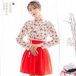 생활한복세트 홍화꽃저고리 +다솜레드 허리치마