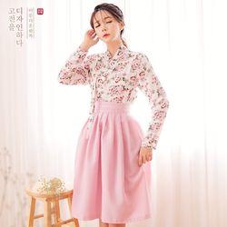 생활한복세트 연분화저고리 + 보예 분홍 허리치마