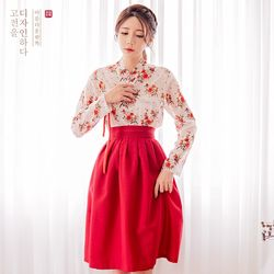 생활한복세트 붉은꽃 저고리 + 이루리 허리치마