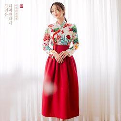 생활한복세트아리화+꽃잠 버건디허리치마