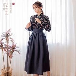 생활한복세트 구월애 저고리 + 청아 차콜 허리치마