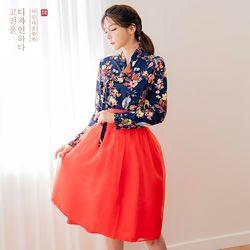 생활한복세트 군청화 저고리 + 꽃향 허리치마+장홍 허리치마