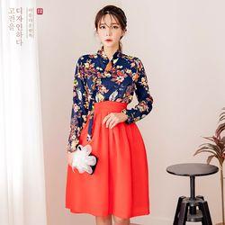 생활한복세트 군청화 저고리 + 꽃향 레드 허리치마